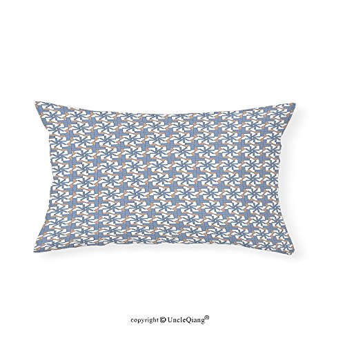 VROSELV Custom pillowcasesGeometric Abstract Composition Graphic Floral Motifs with Squares Pattern for Bedroom Living Room Dorm Slate Blue Dried Rose White(12''x24'') by VROSELV