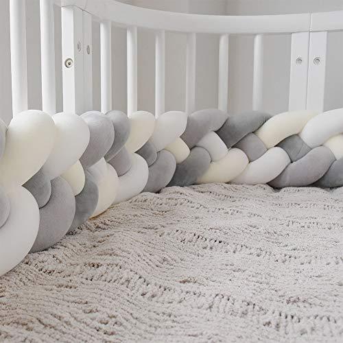 - FZYQY Sticker Superb Handmade Braided Cot Bumper,Baby Head Guard Bumper Knot Braid Pillow Cushion,Nursery Decorations Braided Bumper for Crib Nursery (86.6inch),Gray+White