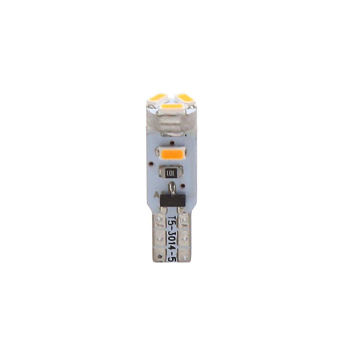 sourcing map 5pcs 12V T5 1206 5SMD LED Jaune Instrument Tableau Bord /éclaire Interne Prise