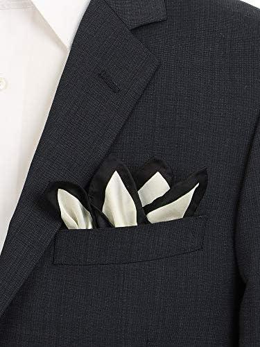 (ザ・スーツカンパニー) パイピングプリント シルクポケットチーフ オフホワイト×ブラック