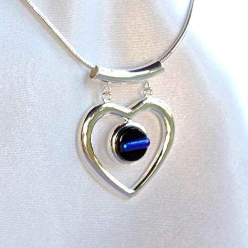 Dichroic Jewelry - THIN BLUE LINE Police Ladies Glass Jewelry Pendant Necklace Silver Heart Dangle Dichroic Fused