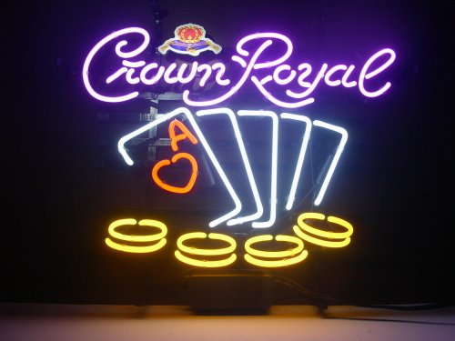 New Crown Royal Poker Chips Real Glass Neon Light Sign Home Beer Bar Pub Sign H108