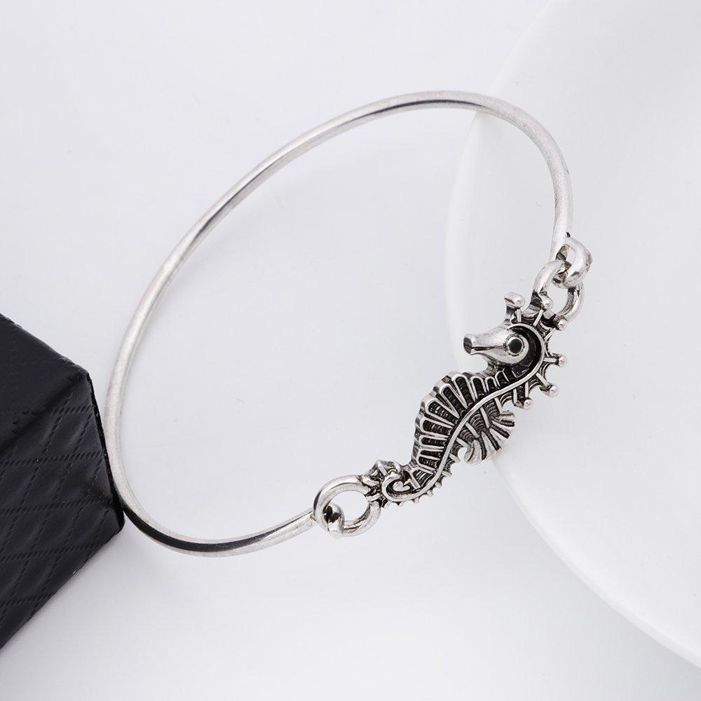 RUXIANG Seahorse Sea Life Openable Hook Bracelet BangleJewelry Silver