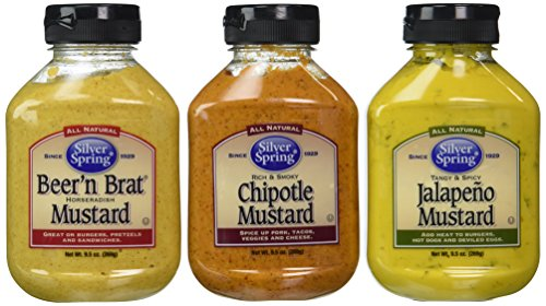 Silver Spring All Natural Mustard 3 Flavor Variety Bundle: (1) Silver Spring Beer'n Brat Horseradish Mustard, (1) Silver Spring Rich And Smoky Chipotle Mustard, and (1) Silver Spring Tangy & ()