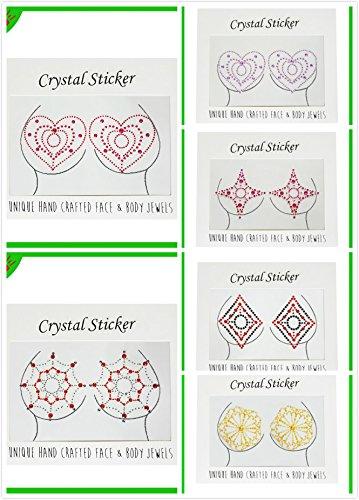 Miss.AJ 6 Pack Pert Pasties Crystal Body Gems Chic Fun Variety Colored Nipple Rhinestone Gem Pasties -