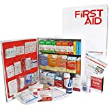 OSHA & ANSI 3 Shelf Industrial First Aid Cabinet with Pocket Liner, 100 Person, 1316 Pieces, 2015 Class A+, Types I & II, Made in USA