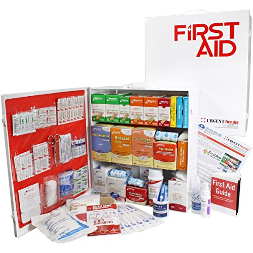 OSHA & ANSI 3 Shelf Industrial First Aid Cabinet with Pocket Liner, 100 Person, 1316 Pieces, 2015 Class A+, Types I & II, Made in USA by Urgent First AidTM with extra content & NEW ANSI First Aid Guide from Urgent First Aid