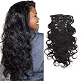 OrderWigsOnline Body Wave Black Clip In Hair Extensions 100% Virgin Remy Human Hair 7 pieces Net Weight100gram/3.6oz Grade 18inch 7A for Thin Hair Natural Black Hair