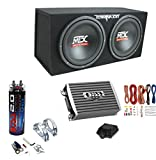 MTX TNE212D 12'' 1200W Dual Loaded Subwoofer Box + 1500W Amplifier + Capacitor
