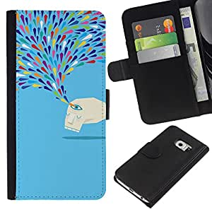 KingStore / Leather Etui en cuir / Samsung Galaxy S6 EDGE / Crying Monster Azul lágrimas tristes de Arte Moderno
