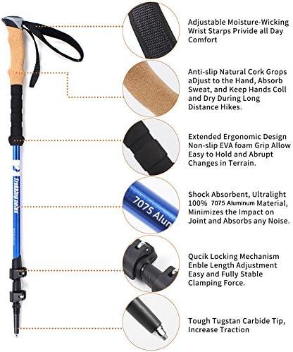 Dioche 2 Pezzi Bastoncini da Trekking Telescopici Bacchette Walking Passeggio Anti-Shock Ideale per Donne Uomini Arrampicata Campeggio Sci