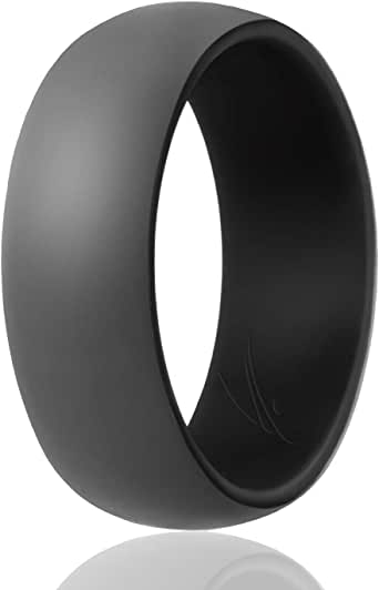 ROQ Silicone Wedding Ring for Men - 3 Packs/4 Packs & Singles - Duo Collection Silicone Rubber Wedding Bands - Classic Styles