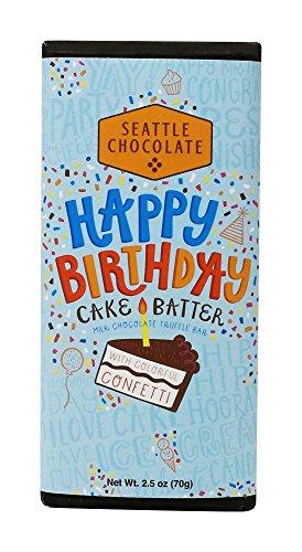 Seattle Chocolates Chocolate Cake Batter Birthday Truffle Bar, 2.5 oz