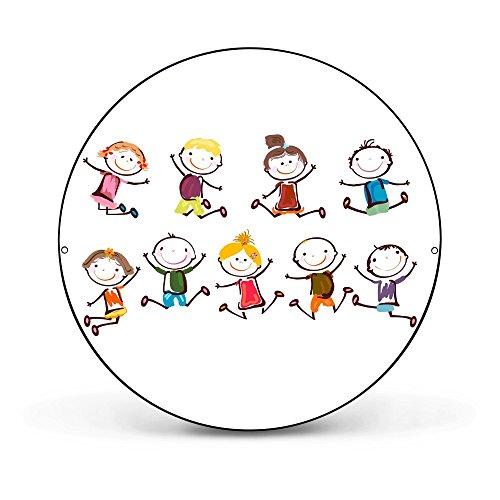 banjado - runde Magnettafel Pinnwand aus Stahl schwarz oder weiß lackiert 47cm Ø mit Motiv Happy Kids, Magnettafel rund schwarz