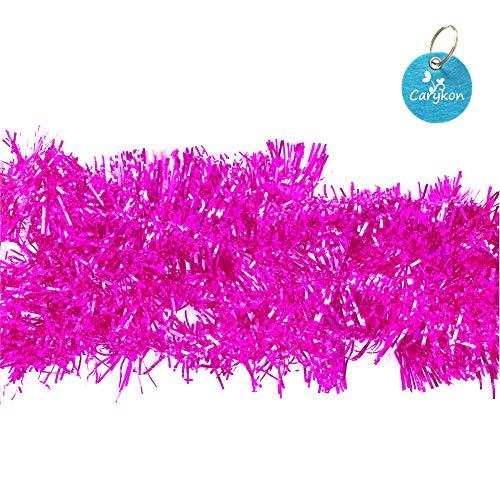 Carykon Elegant Hanging Sparkly Tinsel Garland, 5 Pcs, Each 3 Inch W x 6 Feet L, Holiday Decoration (Hot Pink)