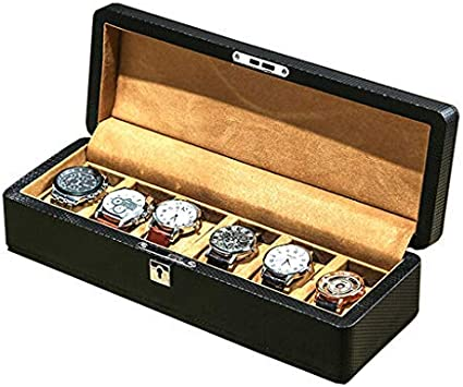 Caja del reloj: caja organizadora de 6 ranuras, diseño de fibra de carbono para relojes de joyería para hombres, soporte para almacenamiento de hombres con almohadas suaves de hebilla de metal para r