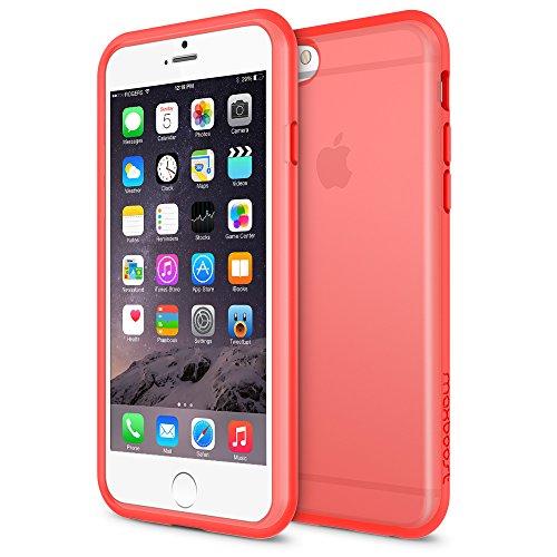 (Maxboost HyperPro Series Matte Soft Anti-Scratch Shock-Absorbing TPU Frame Bumper Case for iPhone 6 - Clear Peach Echo)