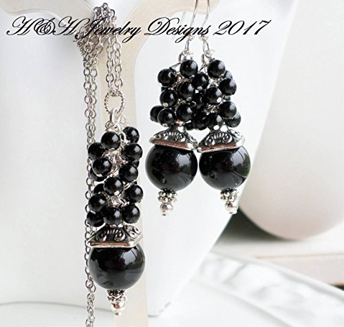 Black Pearl Cluster Necklace Earrings SET on Antique Silver