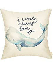 Fahrendom Watercolor I Whale Always Love You Cute Lover Quote Nursery Sign Cotton Linen Home Decorative Throw Pillow Case Cushion Cover with Words for Sofa Couch 18 x 18 Inch