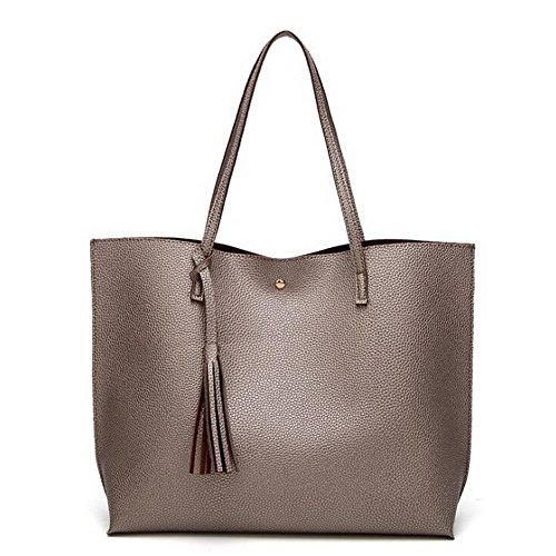 Cinnamon Leather Handbags (Jiaruo Brand Luxury Tassel Pendant Design PU Women Leather Shoulder bags Large Tote (Cinnamon))