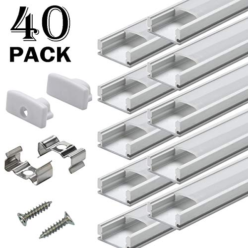 Aluminum Channels for Led Strip Lights - StarlandLed 40Pack Led Profile U Track with Cover Diffuser and Complete Mounting Accessories,1 Meter Segments