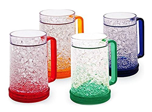 Double Wall Frosted Gel Freezer Mugs 16 oz - Set of 4 - Red, Orange, Blue, Green, By Zaggit by ZagGit