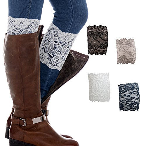 FAYBOX Women Lace Floral Boot Cuffs Leg Warmer Socks Pack of 4 NV