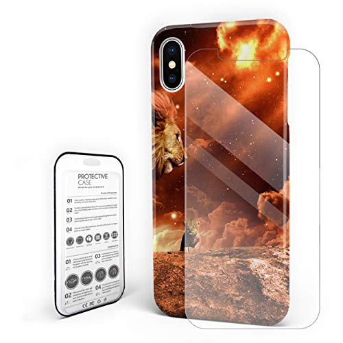 (Compatible with iPhone X Case, Hard PC Back Phone Case with Tempered Glass Screen Protector Starry Sky Warm Picture Lion and His Son Shockproof Protective Cover)