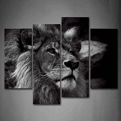 Lion Head Pictures - Black And White Lion Head Portrait Wall Art Painting Pictures Print On Canvas Animal The Picture For Home Modern Decoration