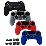 ice white 3ds - Pandaren STUDDED Anti-slip Silicone Cover Skin Set for PS4 /SLIM /PRO controller(controller skin x 4 + FPS PRO Thumb Grips x 8)(Black,White,Red,Blue)