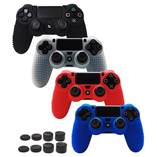 Pandaren STUDDED Anti-slip Silicone Cover Skin Set for PS4 /SLIM /PRO controller(controller skin x 4 + FPS PRO Thumb Grips x 8)(Black,White,Red,Blue) (Fan Super Slim Ps3 Cooler)