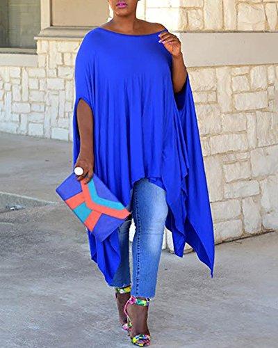 Blouse Irrgulier T Grande Taille Femmes Quge Bleu Robes Tops Manche Chemise Courte Shirt wZIYqH