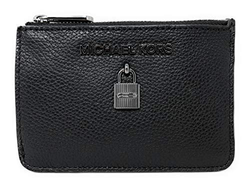 - Michael Kors Adele Small Top Zip Coin Pouch ID Card Case Wallet (Black)
