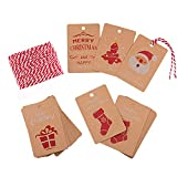 KUUQA 50Pcs Christmas Gift Tags Kraft Paper Gift Cards with Hanging Rope for Christmas Gift Wrapping Label, 5 Christmas Design