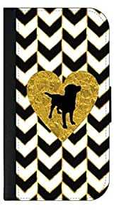 Black and White Gold PRINT Gilded Chevrons-Gold Foil PRINT Heart-Puppy Silhouette- Wallet Case for the APPLE iphone 6 4.7 ONLY!!!-NOT COMPATIBLE WITH THE iphone 6 4.7 !!!-PU Leather and Suede Wallet Iphone Case with Flip Cover that Closes with a Magnetic Clasp and 3 Inner Pockets for Storage