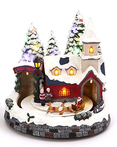 Lighted Animated Christmas Village Scene with Church or Train Station - Holiday Decoration (Santa) (Xmas Disney Tree)