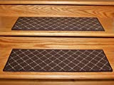 Dog Assist Carpet Stair Treads - Brown Diamond Pattern (9'' x 27'') Set Of 13