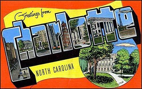 MAGNET 3x5 inch Vintage Greetings from Charlotte Sticker (Postcard North Carolina nc) Magnetic vinyl bumper sticker sticks to any metal fridge, car, signs