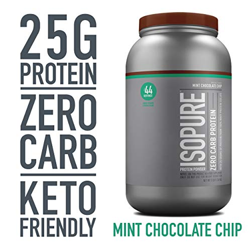Isopure Zero Carb, Keto Friendly Protein Powder, 100% Whey Protein Isolate, Flavor: Mint Chocolate Chip, 3 Pounds (Packaging May Vary)