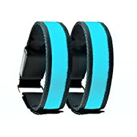 Box of 2 - Blue LED Armband / Wristband / Bracelet for Running in the Dark or Night - 3 Settings: Fast Slow Steady - Safe Stylish and Sleek