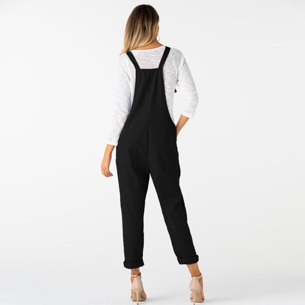 264d3273a60 Amazon.com  Women Overalls Jumpers Pockets Jumpsuits Pants Romper Long  Loose Working Trousers Hemlock (M
