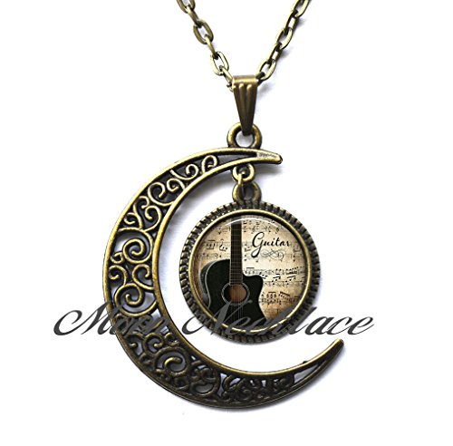 Moon Necklace, Crescent Moon Necklace, Simple Necklace,Guitar and Music pendant, musician's gift, music teacher's gift, guitar pendant, guitar player gift, guitar necklace