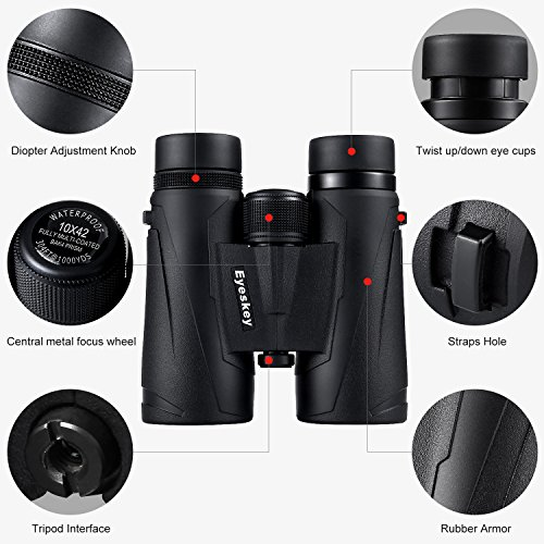 51G34zwh4bL - Eyeskey 10x42 Professional Waterproof Binoculars, Best Choice for Travelling, Hunting, Sports Games and Outdoor Activities, Extremely Clear and Bright