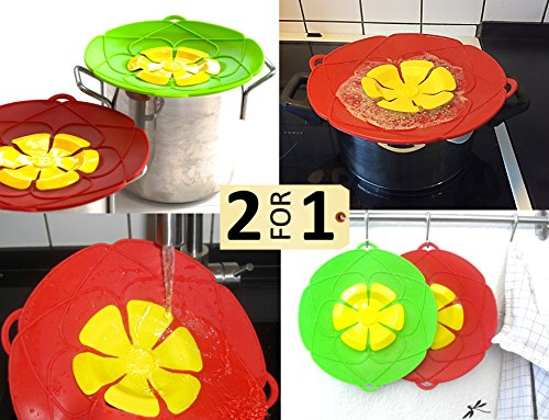 Silicone Spill Stopper & Boil Over Guard. 2 in 1 package (Red & Green). Spill Stopper Lid Cover. Safeguard prevent water boiling over on (Non Spill Lid)
