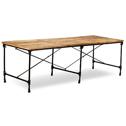 SHENGFENG Mesa de Comedor Marrón y Negro con Ruedas,Mesa para Jardín Mesa de Cocina