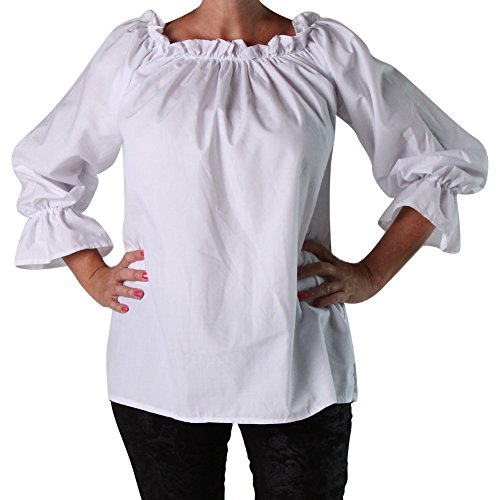 White Adult Medieval Blouse, Small
