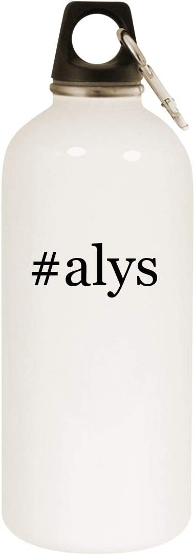 #alys - 20oz Hashtag Stainless Steel White Water Bottle with Carabiner, White
