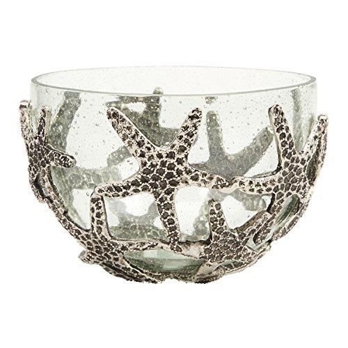 Mud Pie Starfish Bubble Glass Serving Bowl, Silver