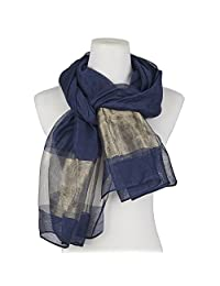 Beautiful Silk Blending Scarf Blue Wedding Wraps Shawl Women