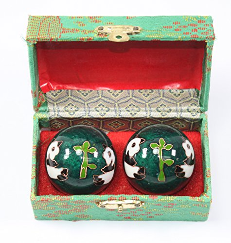 Small Green Panda Cloisonne Iron Balls Hand Stress Relief Set EXERCISE Finger Health Therapy US Seller - Oriental Soccer Ball